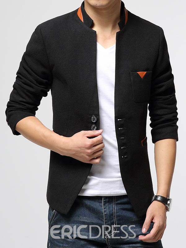 Ericdress Patched Slim Stand Collar Men's Blazer