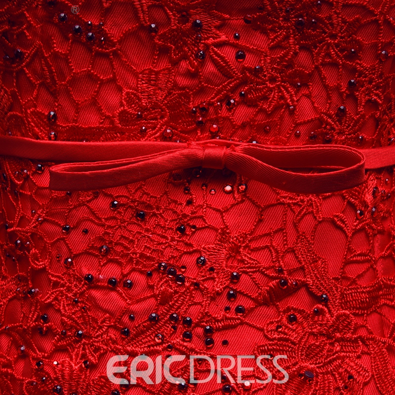 Ericdress Scoop Neck Appliques Beaded Bowknot Mermaid Evening Dress