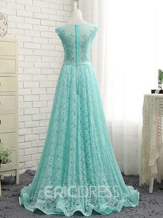 Ericdress Scoop Neck Cap Sleeves Appliques Sequins Prom Dress