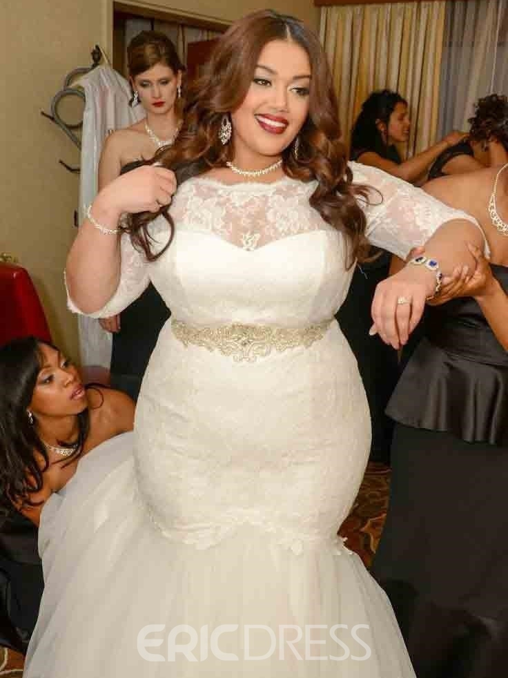 Ericdresss beautiful lace mermaid plus size wedding dress for Wedding dresses for short and curvy
