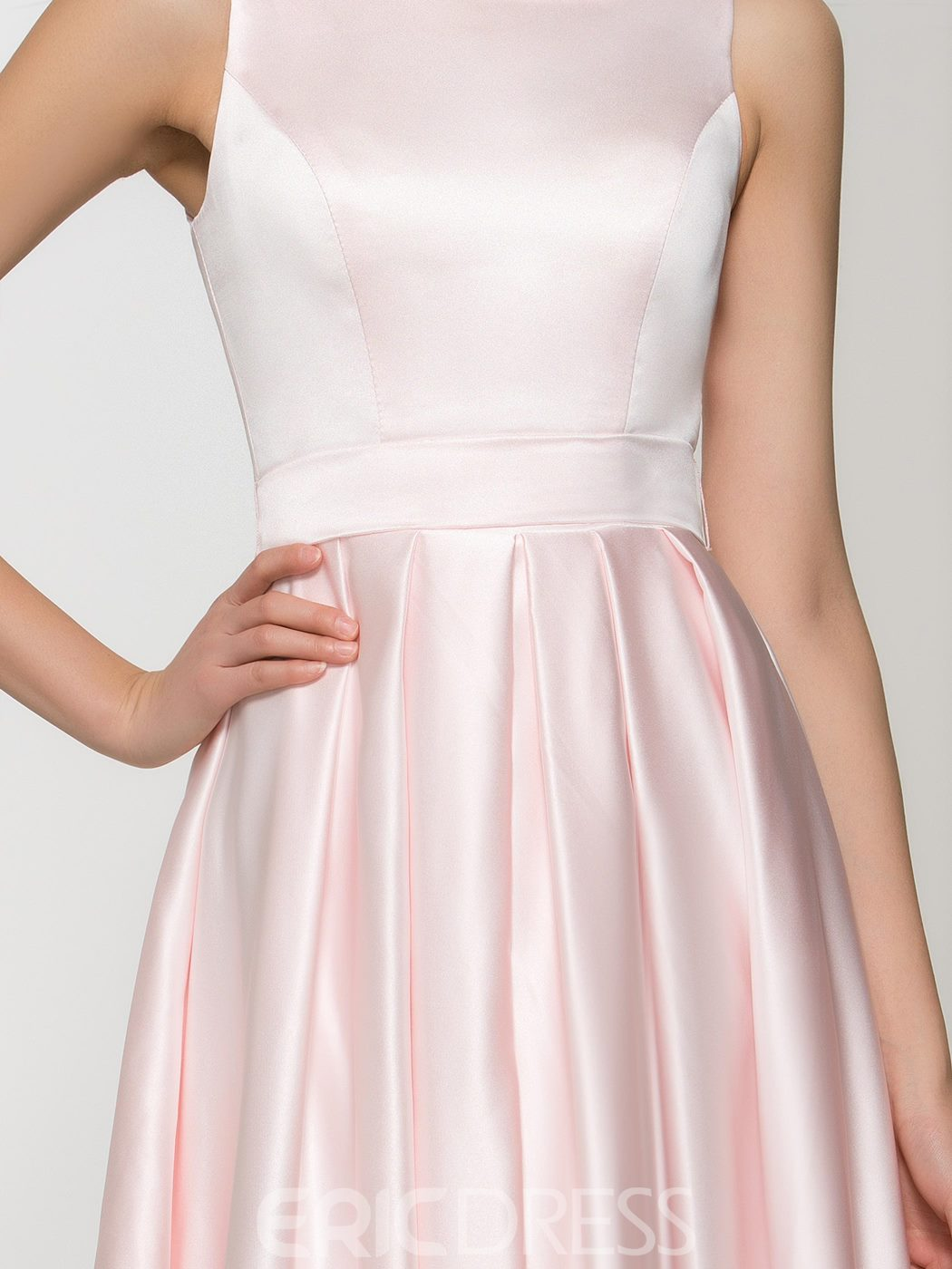 Ericdress Scoop Neck Ruffles Pink Prom Dress