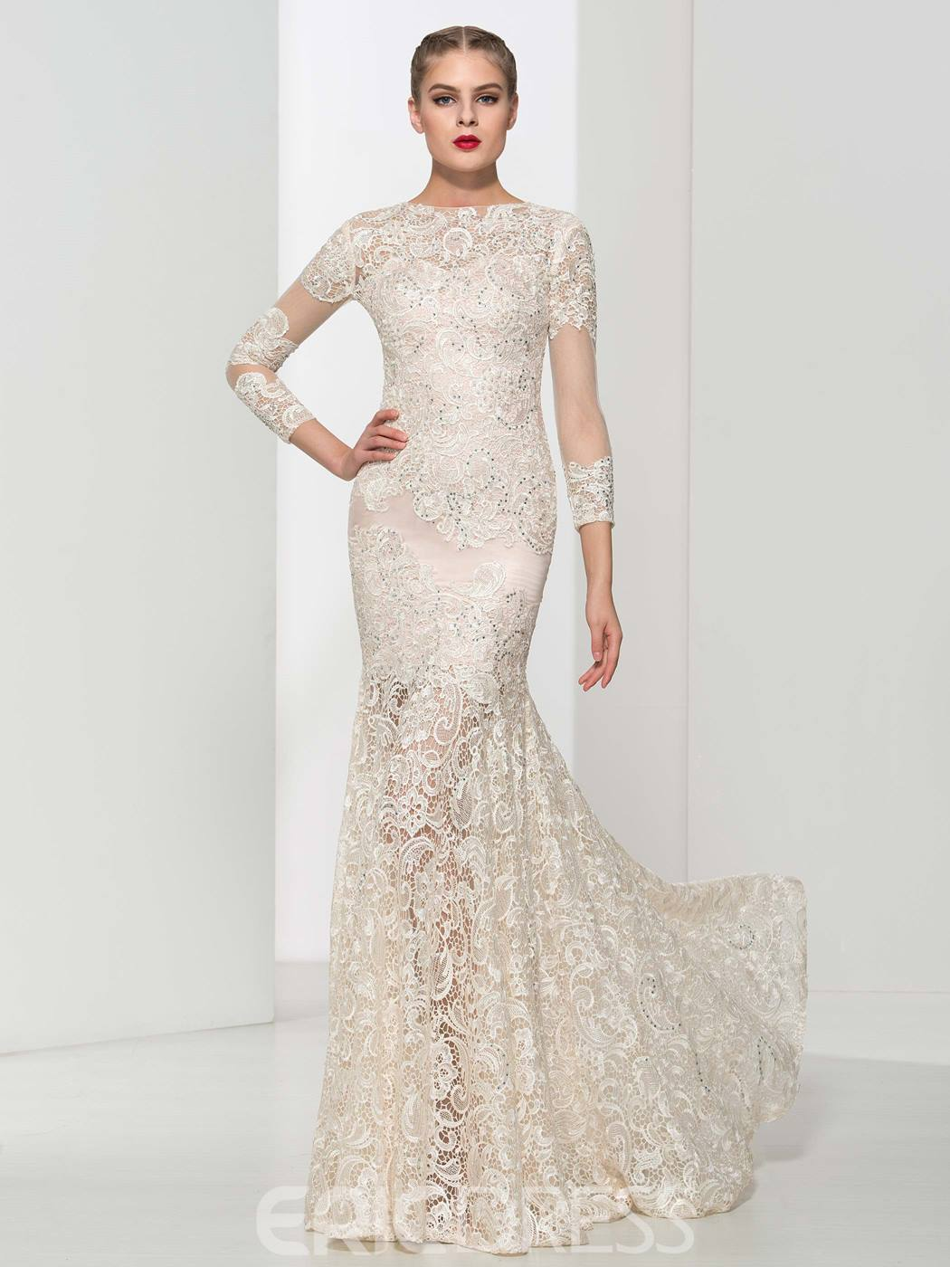 Ericdress Mermaid Beading Lace Sexy Evening Dress