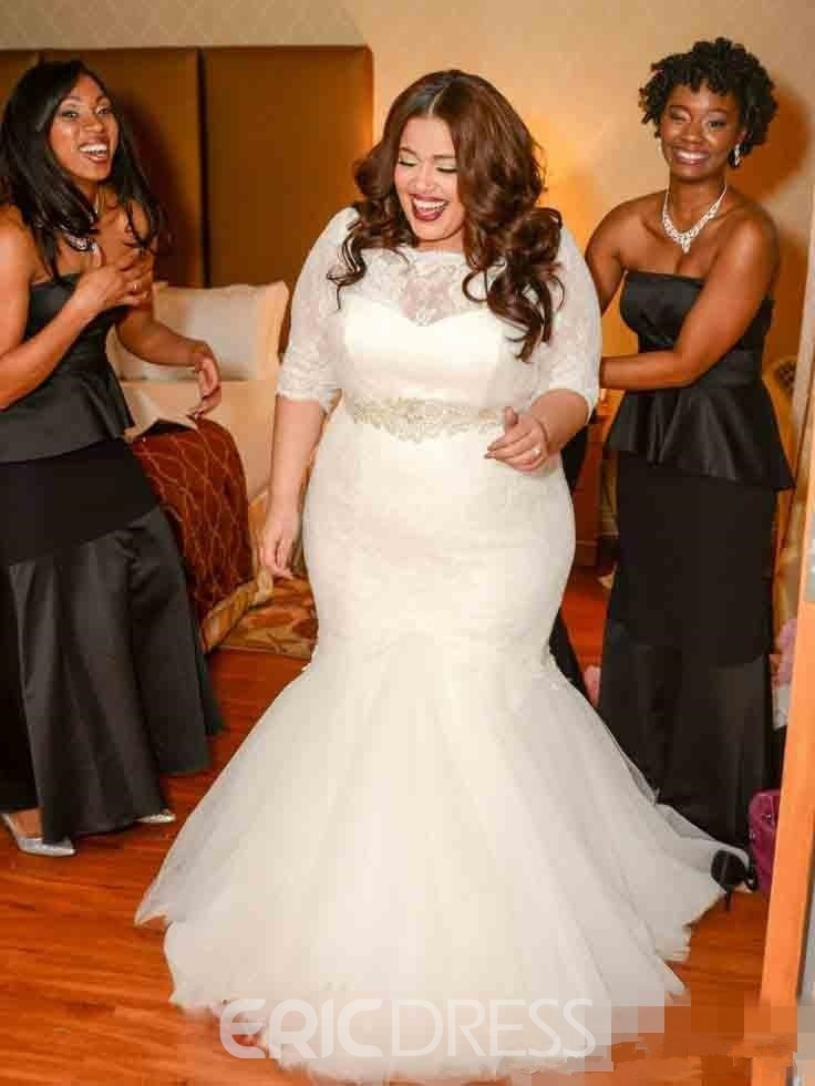 Ericdresss Beautiful Lace Mermaid Plus Size