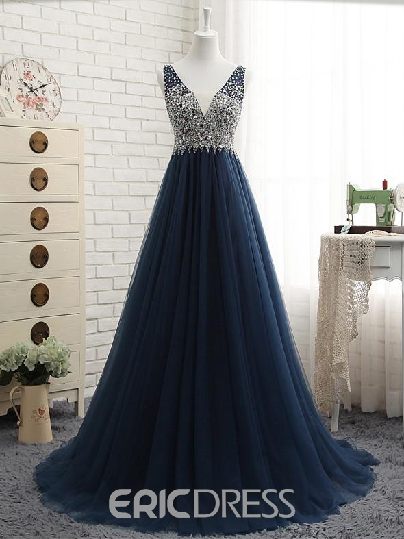 Ericdress A-Line V-Neck Beading Crystal Sweep Train Long Prom Dress