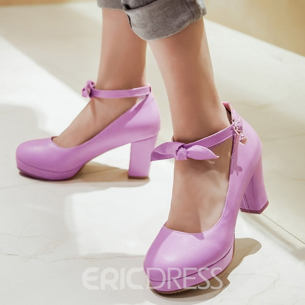 Ericdress Bow Line-Style Buckle Round Toe Chunky Heel Women's Pumps