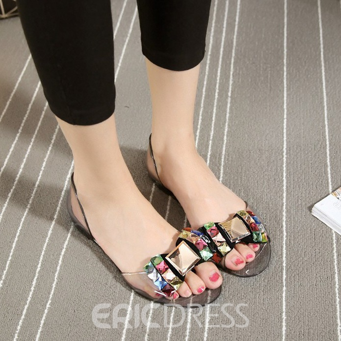 Ericdress Rhinestone Slip-On Flat Sandals