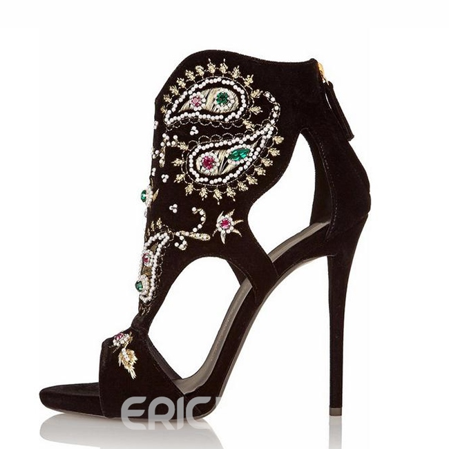 Ericdress Rhinestone Embroidery Stiletto Sandals