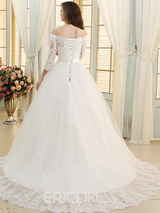 Ericdress Beading Appliques Sleeves Off the Shoulder Wedding Dress