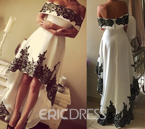 Ericdress Off-The-Shoulder Appliques Asymmetry Evening Dress