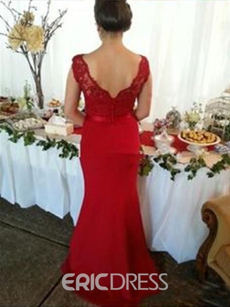 Ericdress V-Neck Lace Red Bridesmaid Dress 2019