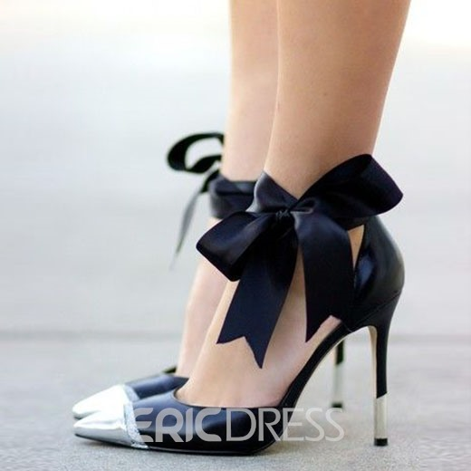 Ericdress Lace Bowknot Point Toe Prom Shoes