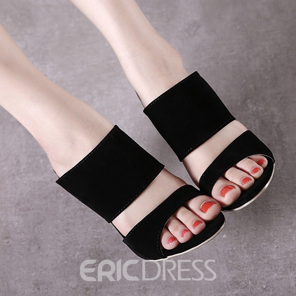 Ericdress Roman Sexy Black Slippers