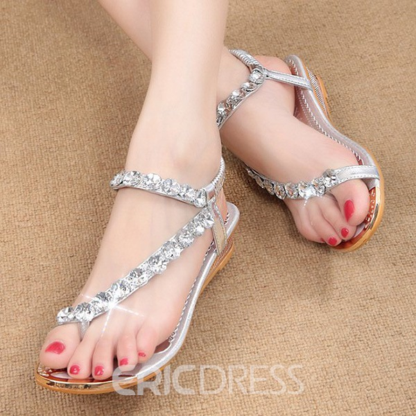 Ericdress Fashion Rhinestone Flat Sandals