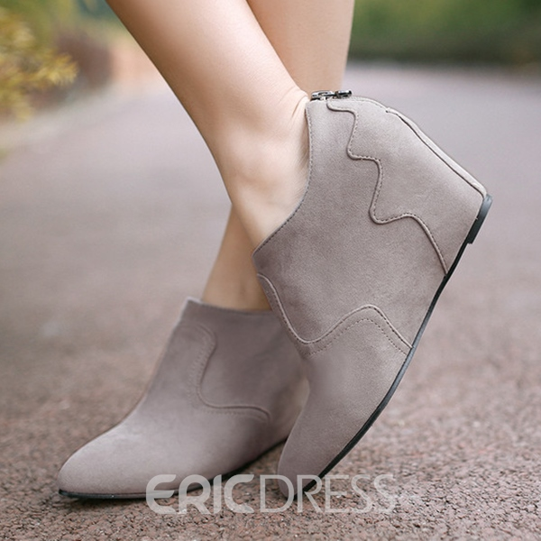 Ericdress Back Zipper Point Toe Wedges