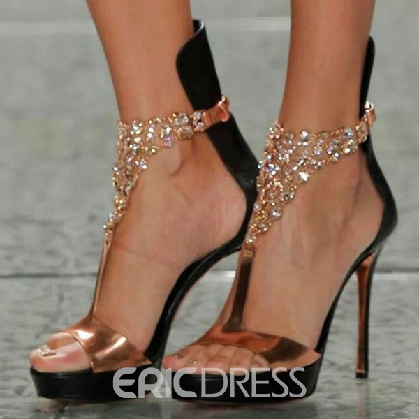 Ericdress T Shape Rhinestone Stiletto Sandals