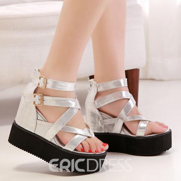 Ericdress Roman Buckles Wedge Sandals