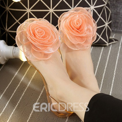 Ericdress Floral Slip-On Appliques Peep Toe Flat Sandals