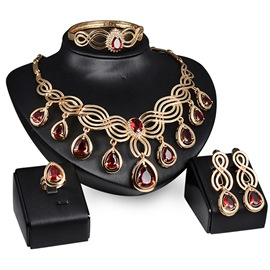 Ericdress Luxury Hollow Water Drop Jewelry Set-Red