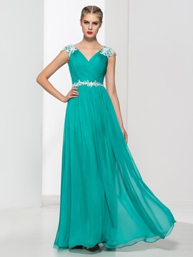 Ericdress V-Neck Appliques Pleats Long Prom Dress