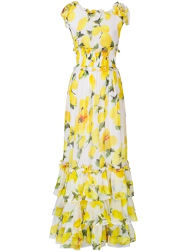 Ericdress Pastoral Falbala Floral Layered Maxi Dress