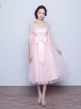 Ericdress Beautiful Half Sleeves Tea Length Lace Bridesmaid Dress