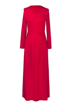 Ericdress Solid Color V-Neck Pleated Women's Maxi Dress