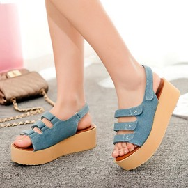 Ericdress Open Toe Velcro Plain Platform Buckle Flat Sandals