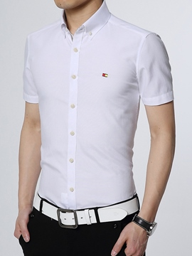 Ericdress Slim Solid Color Short Sleeve Men's Shirt