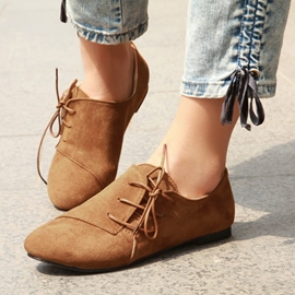 Ericdress Pretty Suede Crossed-ties Flats