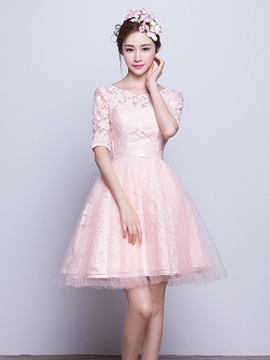 Ericdress Beautiful Half Sleeves Lace Short Bridesmaid Dress