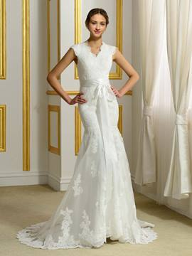 Ericdress V Neck Button Sashes Lace Mermaid Wedding Dress