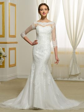 Eridress Luxury Beading Mermaid Wedding Dress