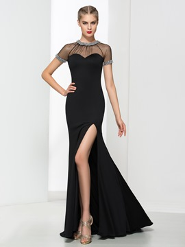 Ericdress bijou cou Split Front perlant Backless robe de soirée