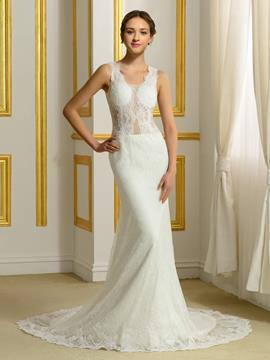Ericdress Sexy Sheer Back Lace Mermaid Wedding Dress