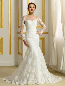 Ericdress Elegant Sheer Neck Long Sleeves Mermaid Wedding Dress