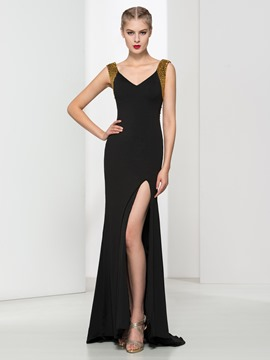 Ericdress V-Neck Beading Split-Front Evening Dress