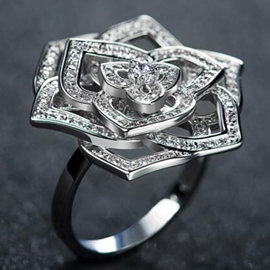 Ericdress Hollow Vine Flower Silver Ring