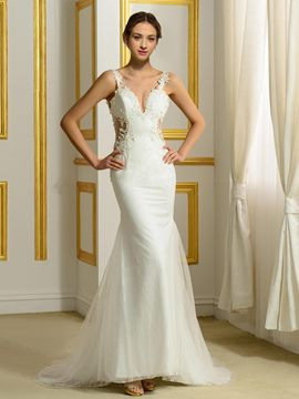 Ericdress Sexy Spaghetti Strap Backless Mermaid Wedding Dress