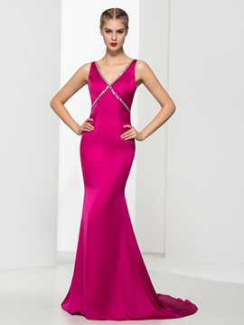 Ericdress Mermaid Beading Backless Sexy Evening Dress