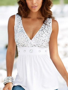 Ericdress Patchwork Beading Sleeveless Fashion Blouse