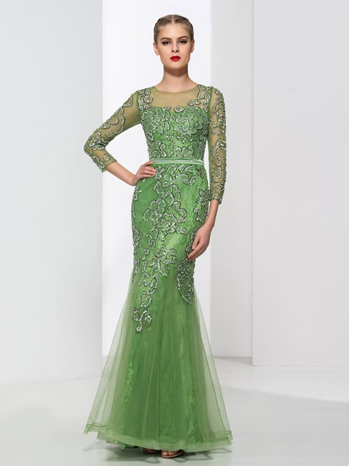 Ericdress Sheath 3/4-Length Sleeves Beading Lace Evening Dress