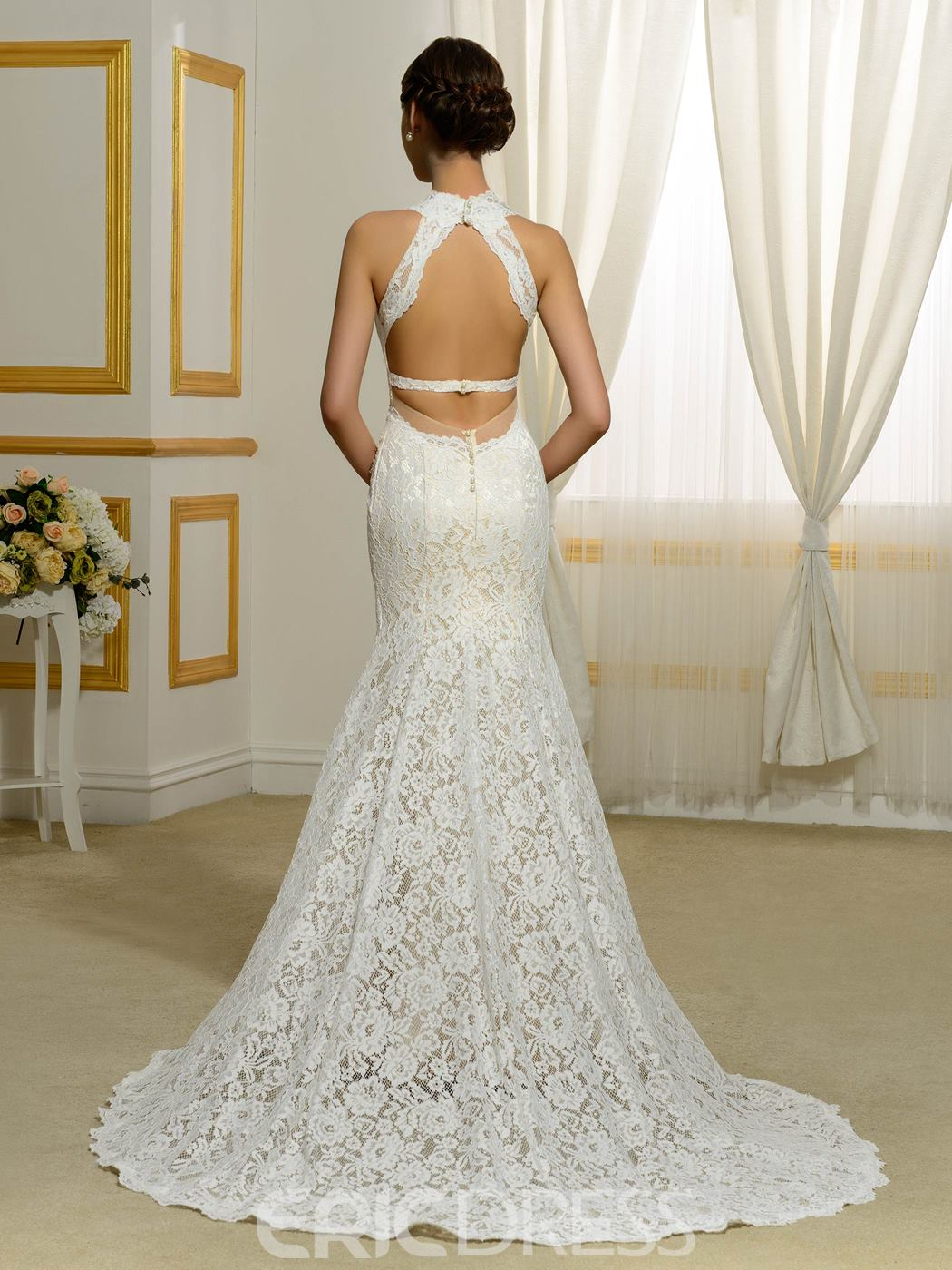 Ericdress Sexy V Neck Backless Mermaid Wedding Dress
