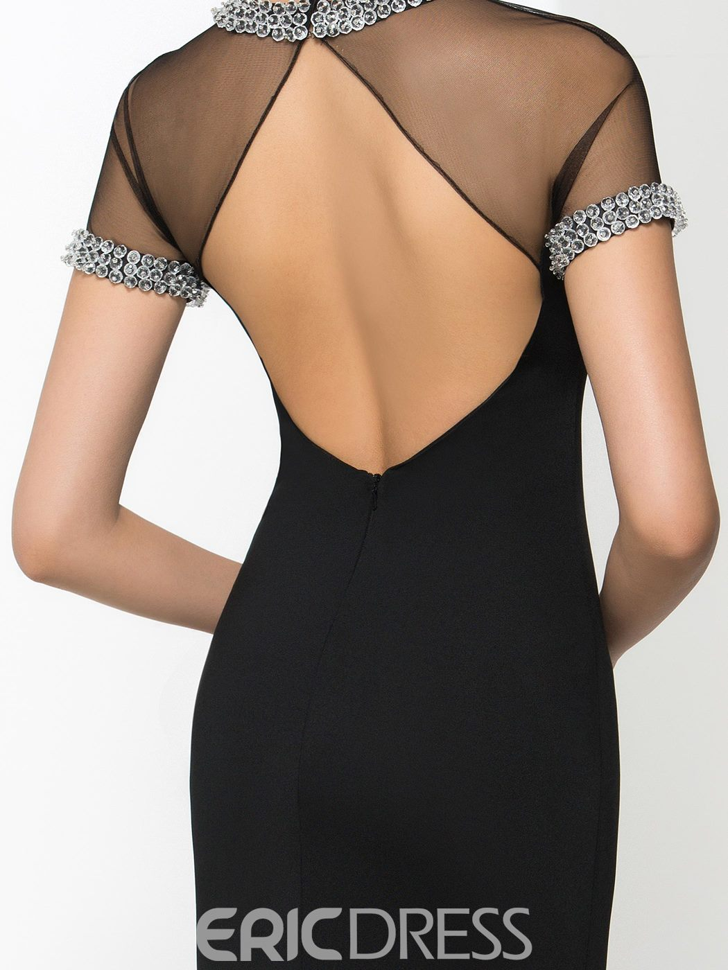 Ericdress Jewel Neck Split-Front Beading Backless Evening Dress