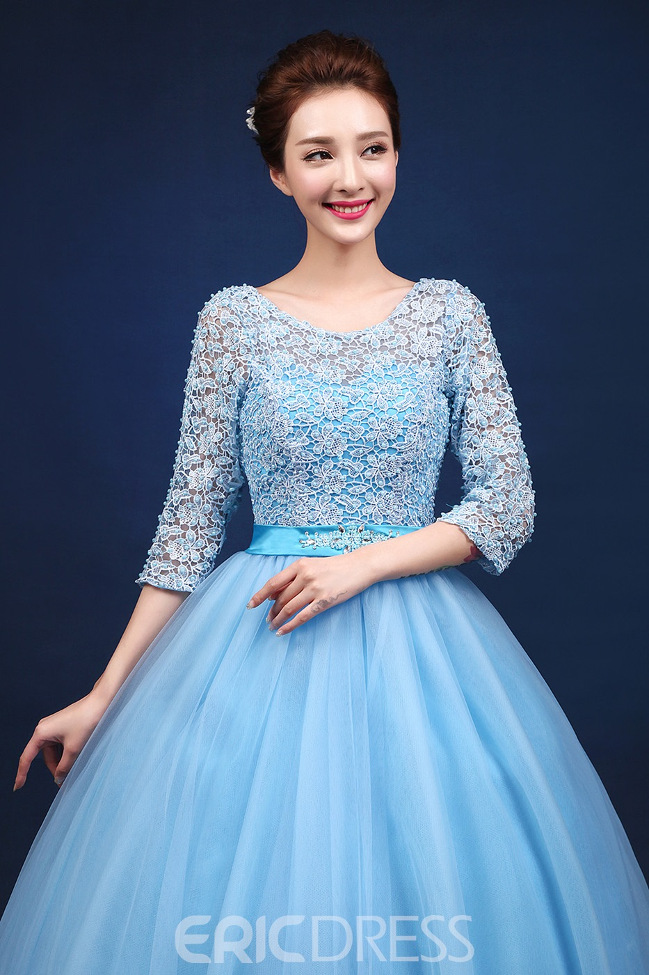 Ericdress Lace Half Sleeves V-neck Lace-up Floor Length Ball Gown ...