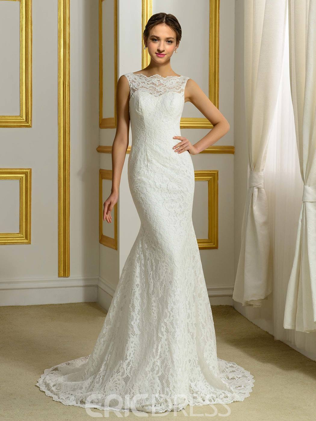 Ericdress High Quality Lace Backless Mermaid Wedding Dress