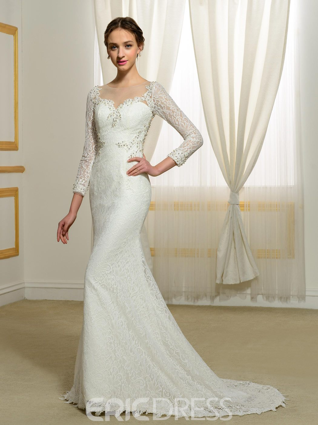 Ericdress Beautiful Lace Mermaid Wedding Dress With Sleeves
