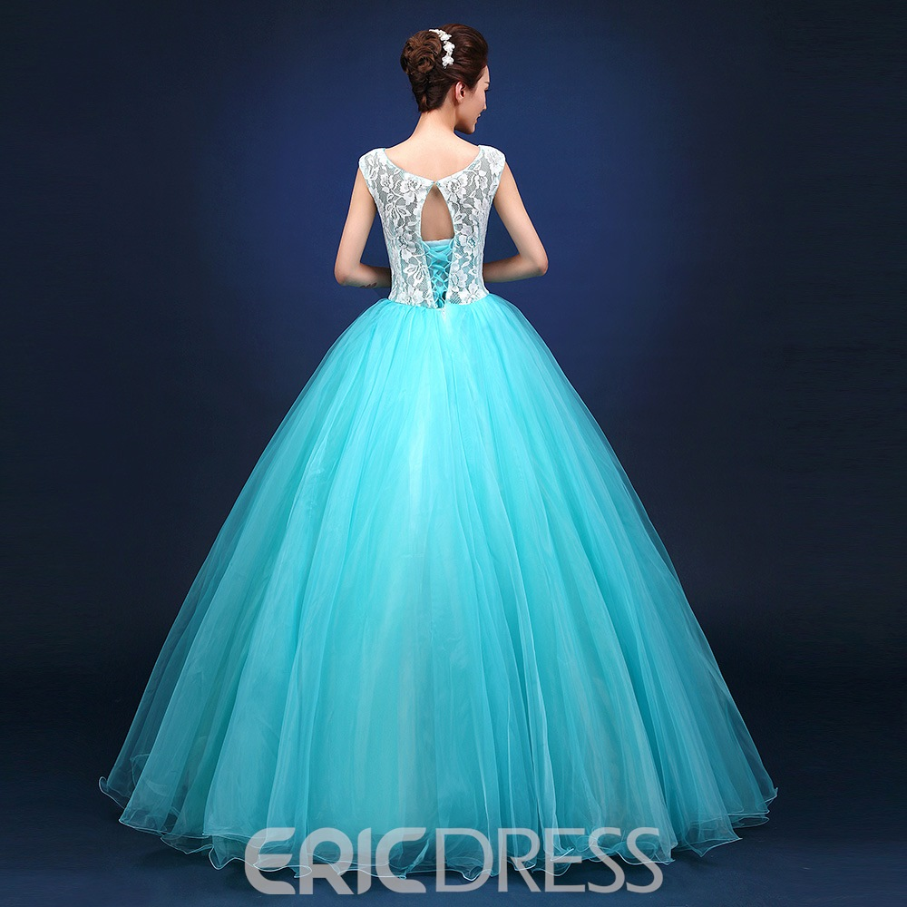 Ericdress Beading Flowers Sleeveless Floor Length Lace-up Ball Gown Dress