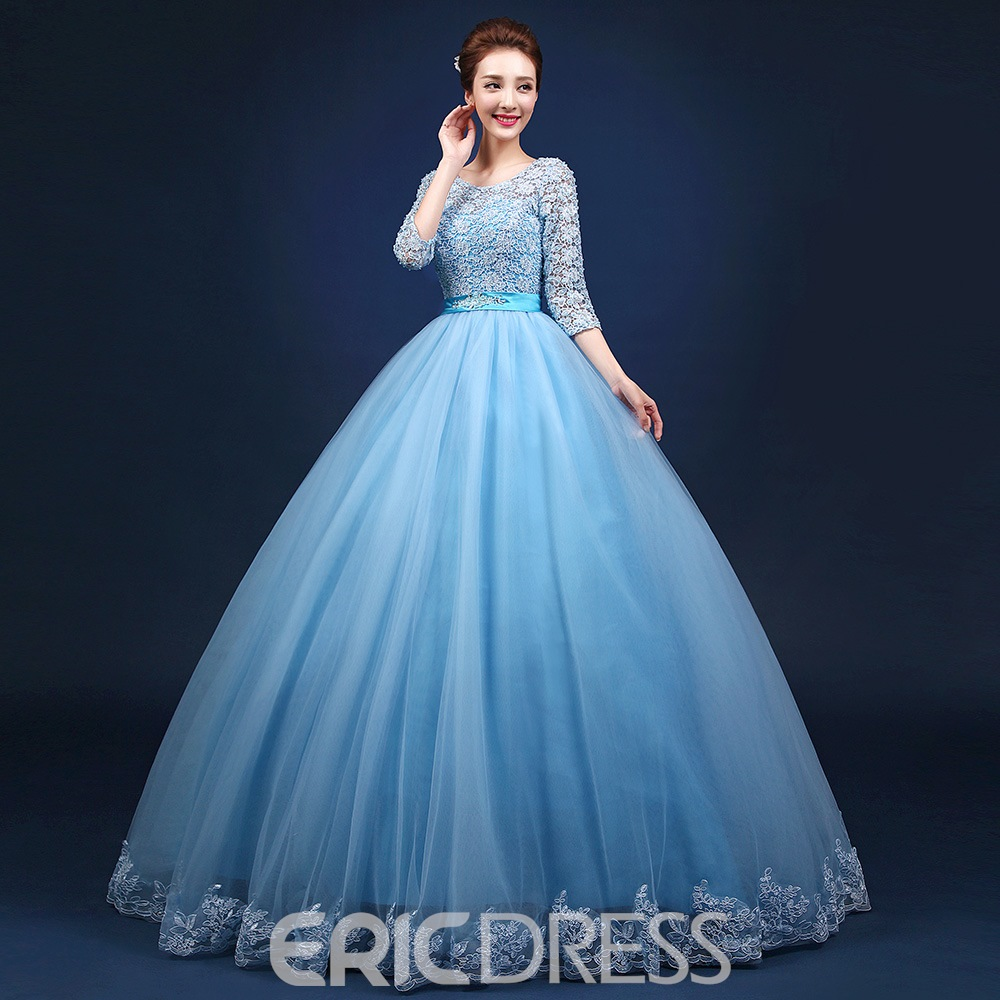 Ericdress Lace Half Sleeves V-neck Lace-up Floor Length Ball Gown Quinceanera Dress