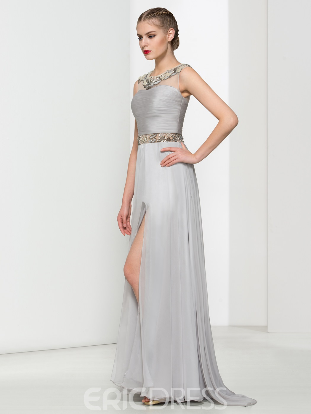 Ericdress Pleats Split-Front Evening Dress With Beadings