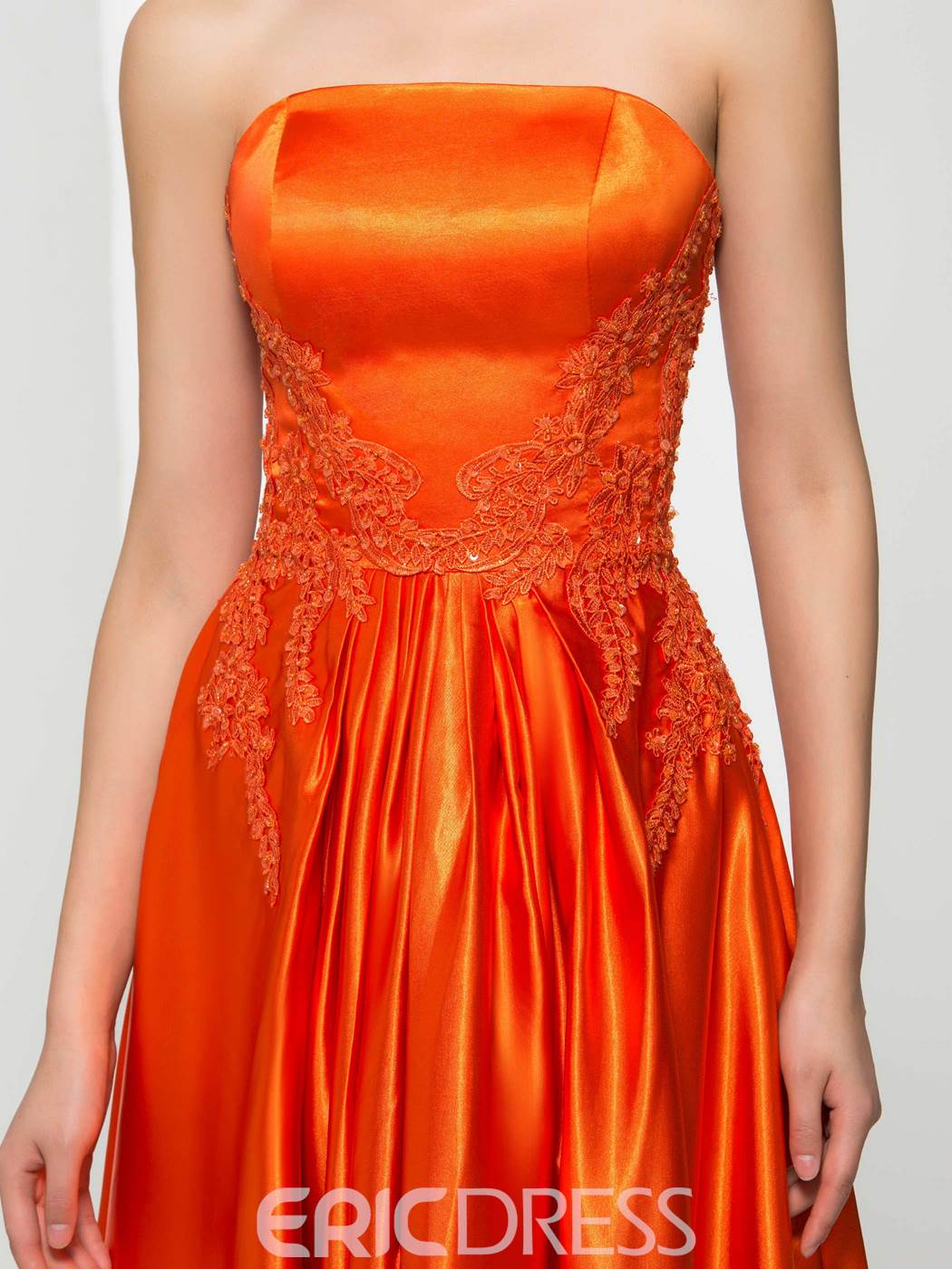 Ericdress Strapless Appliques Split-Front Prom Dress